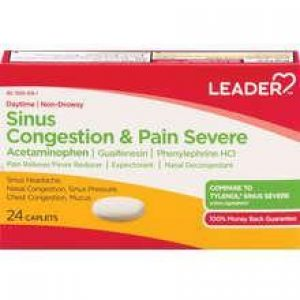 LEADER Sinus Congestion & Pain Severe Daytime Caplets (Compare to Tylenol)