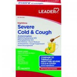 LEADER Cold & Cough Severe Nighttime Honey Lemon Infused with White Tea Packets (Compare to Theraflu)