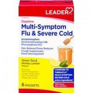 LEADER Flu & Severe Cold Daytime Multi-Symptom Packets Green Tea + Honey Lemon (Compare to Theraflu)